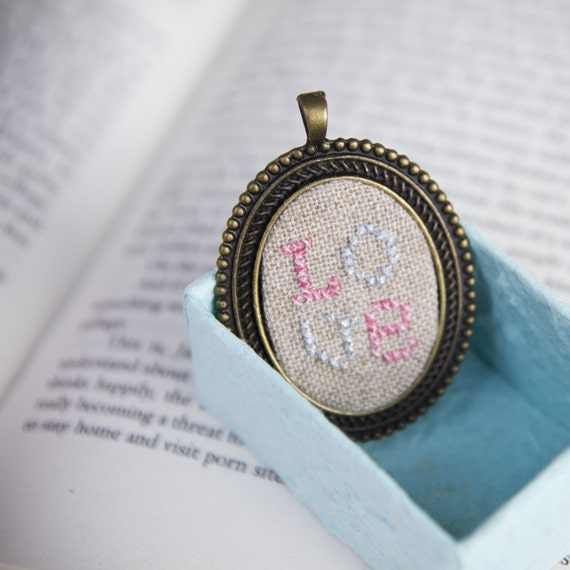 LOVE cross stitched pendant