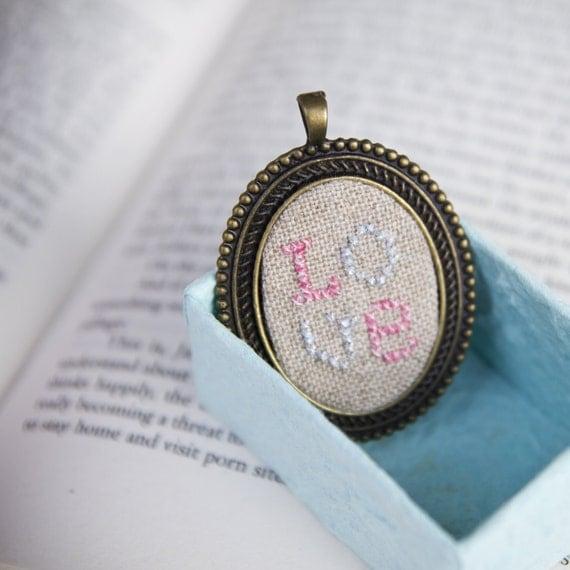 LOVE cross stitched pendant