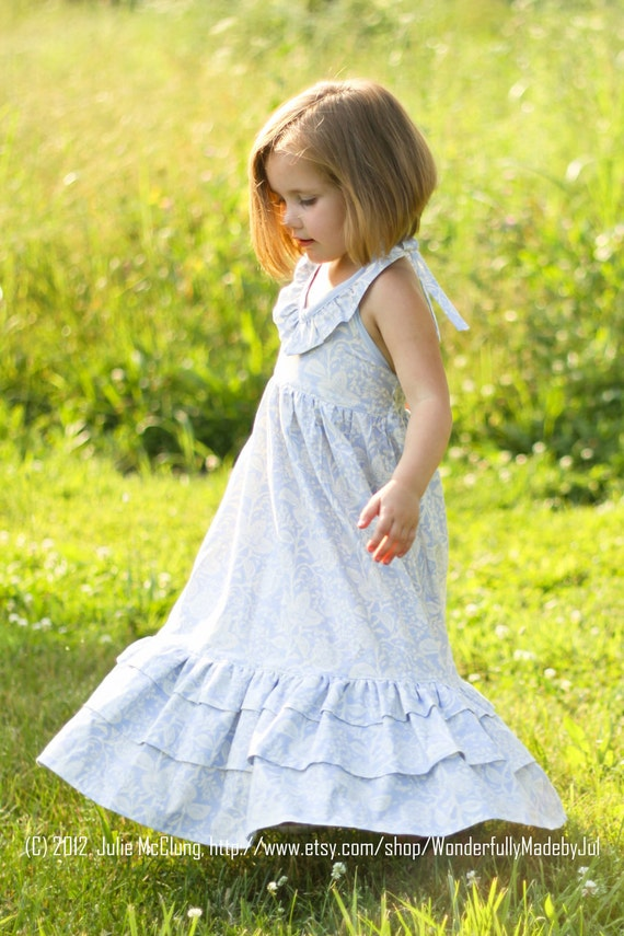Little Girl Dress Custom Boutique, Ruffled Halter Maxi Dress, Twirl Sundress Blue White Emmaline 2T 3T