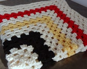 Crochet Granny Square Baby Blanket Afghan, Cornmeal yellow, Cherry Red, deep black and Cream Made to order - veranellies