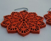 earrings-snow flake in orange