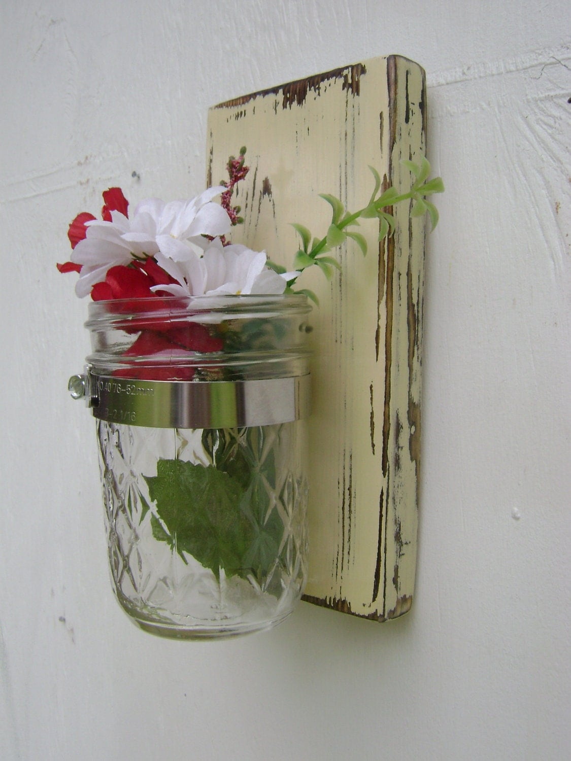 country vase shabby chic wall sconce mason jar by UncleJohnsCabin