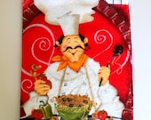 Kitchen Dish Towel, With Attached hanger To Fit on Oven. Chef,Spaghetti and Oven with Red Accents - BeaSewn