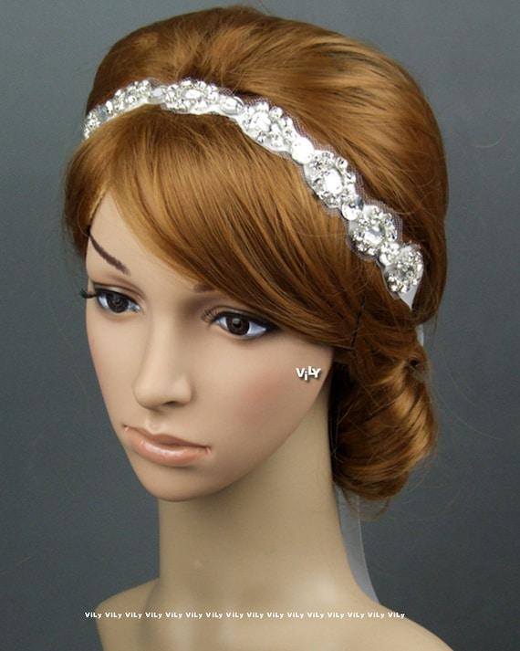 Crystal Rhinestone Vintage Bridal Headband, Art Deco Wedding Bridal Headband, Wedding Hair Accessories