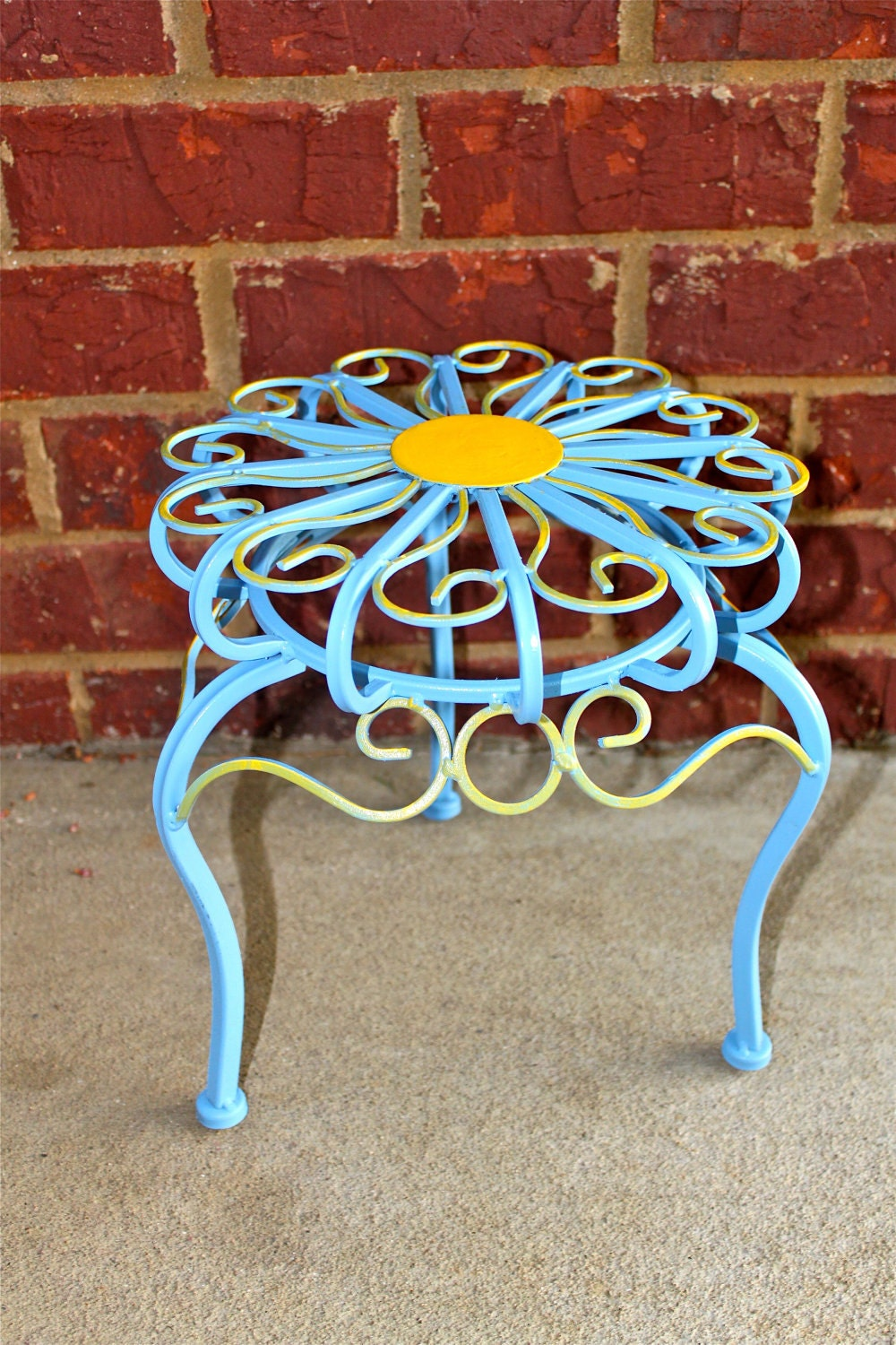 Blue Plant Stand Table /Bright Yellow Accent by AquaXpressions