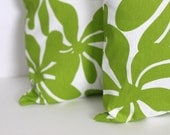 TWO 18 x 18 Pillow Covers Chartreuse Green Twirly Flowers. Premier Prints - Decorator Pillow Covers - modestpillows