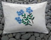 Decorative Pillow White Silk Dupioni with Appliqued Blue Forget-Me-Nots and Swarovski Crystal Beads