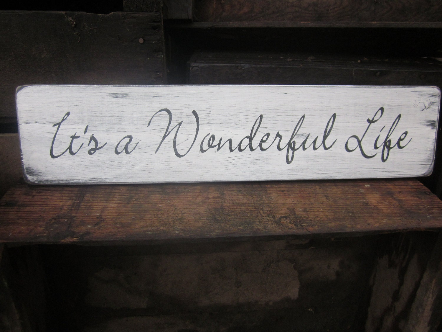 It's a wonderful life Wooden sign Home Decor Distressed by primd