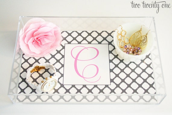 Personalized Quatrefoil Acrylic Tray Liner  (Digital Download)