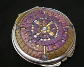Purple and Gold Mosiac Compact Mirror with Rhinestone and Bead Accents - Beautiful