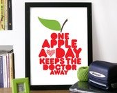 Quote Art Poster with Red Apple Illustrated drawn with WORDS Print - Typography - One Apple a Day keeps the doctor away health quote print