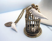 Antique Brass bird cage necklace.two white birds and heart lock pendent NBC01 - Gelivablegift