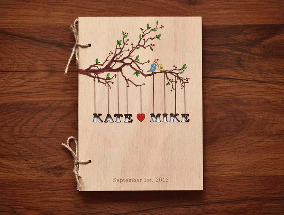 "Custom Wedding guest book wood rustic wedding guest book album bridal shower engagement anniversary- ""Love Birds, Tree"" - Hand painted"