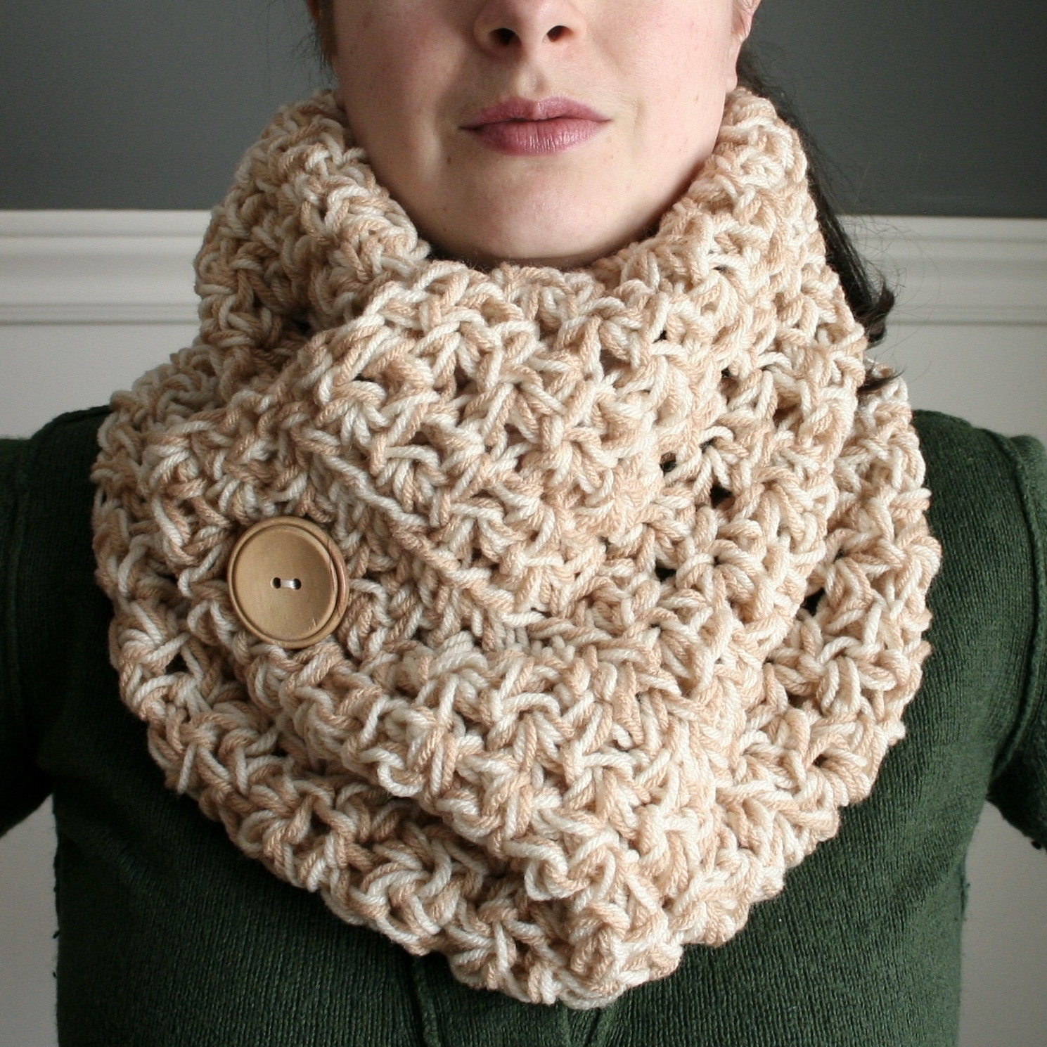 Crocheted Cowl Neck Scarf in Beige and Tan with by TootsandToad Cowl Neck Scarves Crochet