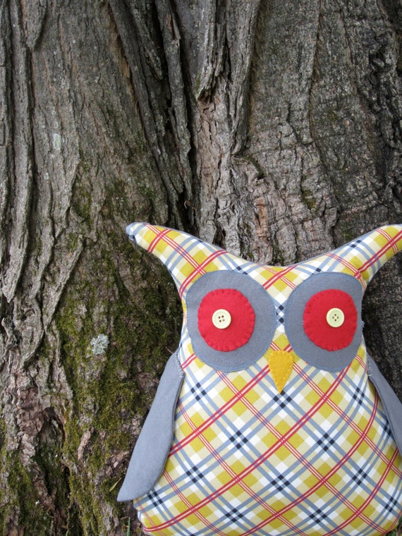 Large Plaid Stuffed Owl