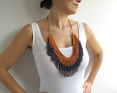 Fringe Necklace in Orange, Blue, Purple colors with Brass Chain - FunFatale