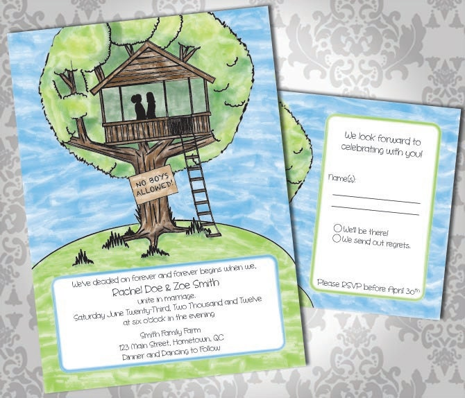 Lesbian Wedding Invitation or Commitment Ceremony and RSVP. Tree House.