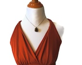 Vintage Prom Dress Burnt Orange Polyester Material from the 1970s Era - AnEyeforJulz