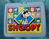 Snoopy 70s pale blue thermos brand lunch box 1971 - FelicesHappyVintage