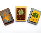 PRESSED LEAF MAGNETS-(sm)-reclaimed wood-pastel yellow, sage green, brown - MoonflowerNatureArt