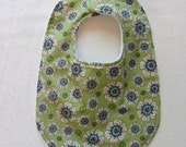 Baby Bib: Green with White and Turquoise Flowers