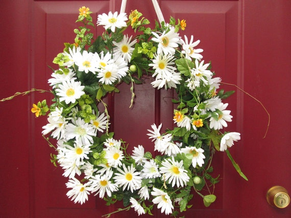 White Daisy Wreath, Spring Wreath, Front Door Wreath