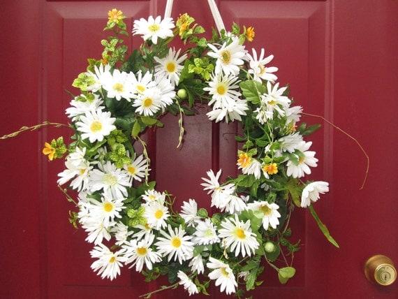 White Daisy Wreath, Spring Wreath, Front Door Wreath