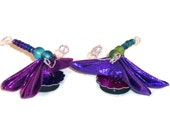 Kanzashi Dragonfly Magnets With Folded Fabric Wings & Beaded Wire Bodies M101 - fostersbeauties