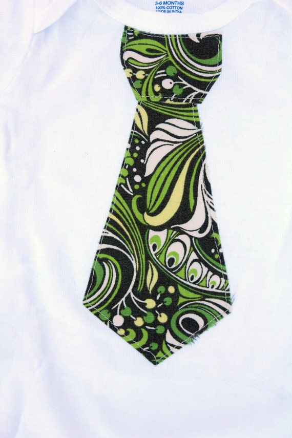 Tie of the Month// Sale// Green Swirl Baby Boy / Toddler Boy Tie Onsie Bodysuit