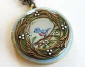OOAK Hand Painted Bluebird Locket Necklace Resin Enameled - hiddenwhimsy