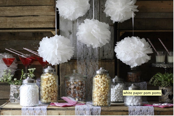 5 Small Poms wedding decor bridal shower garden party by PomGLOW