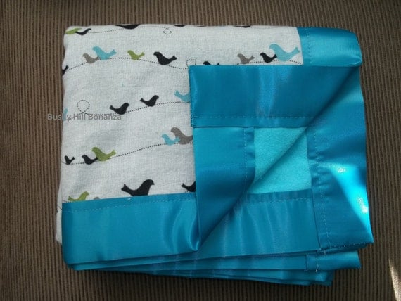 Cotton and Flannel Baby Blanket - Graphic Birds in Blue, Brown, Green, and Cream