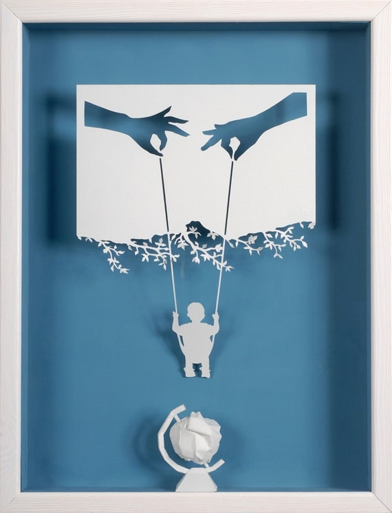 Mom, Dad, me and the world - Paper cut and paper sculpture - reproduction art card
