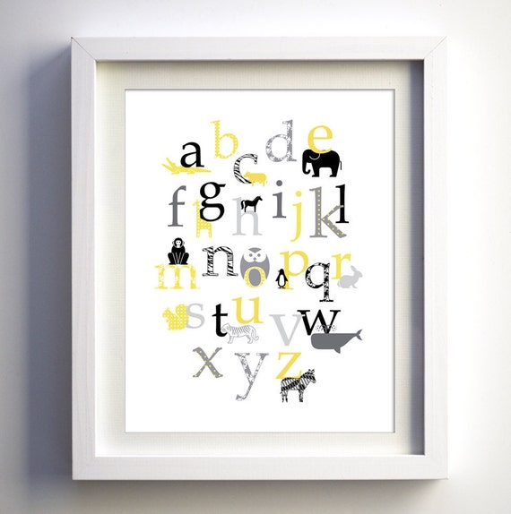 Baby nursery wall decor, Retro Animal Alphabet in gray yellow black colors and patterns, 8x10