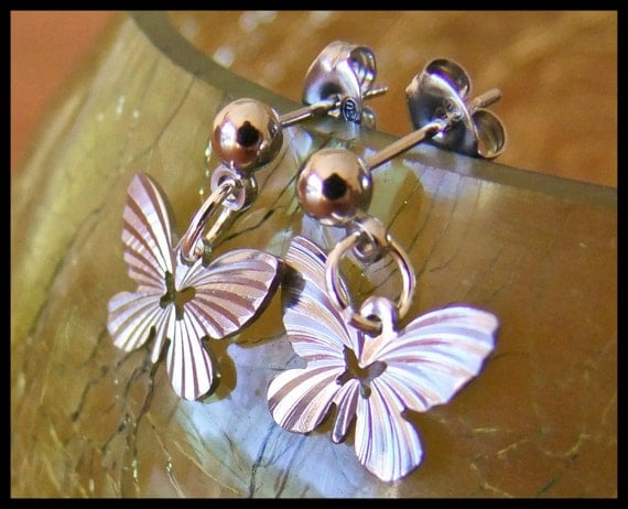 Butterfly post earrings silver plated