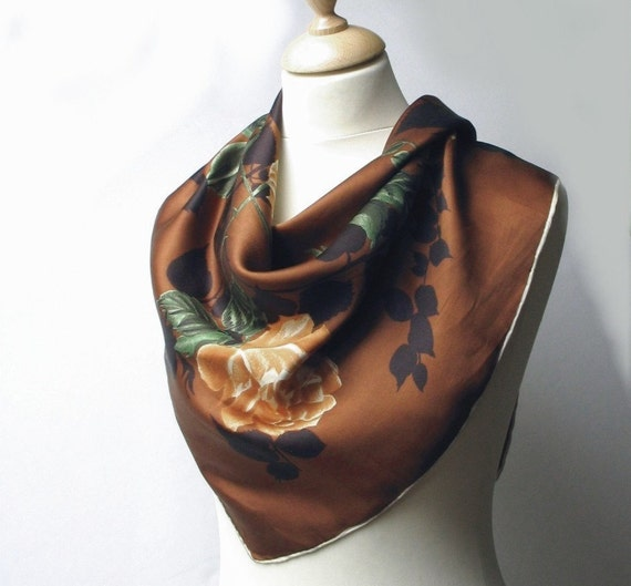 Vintage Italian silk head scarf floral 1950s 50s by madlyvintage Vintage Italian Silk Scarves