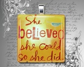 GLASS pendant necklace She Believed She Could So She Did quote vintage orange red 23mm square - petalsofgrace