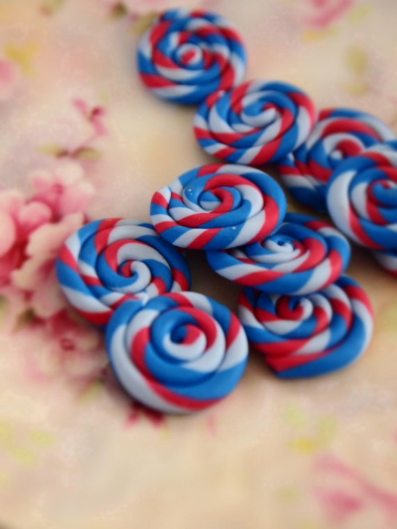 Jubilee Candy cabochons 5pcs red white and blue lollipop, olympics and 4th July