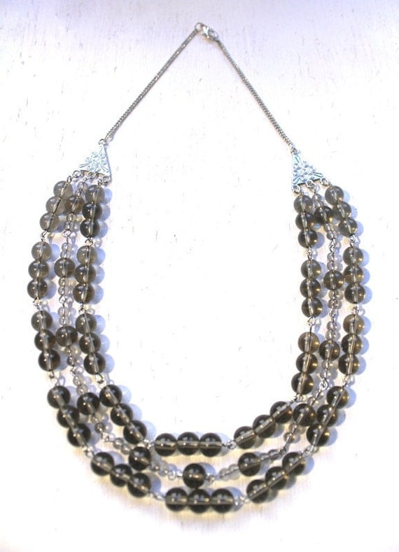 Hnadmade Multi strand smokey gray beaded statement necklace