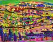"Colorful Abstract Art Print - HAPPY MORNING - Abstract Decor, Kids Room, Large Art print from Murumuru - 70x50 cm / 27,6 ""x19,7"" - MurumuruArt"