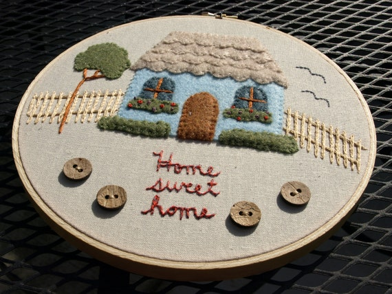 "Hand embroidered cottage felt applique wall art ready to hang in 8"" wooden embroidery hoop"