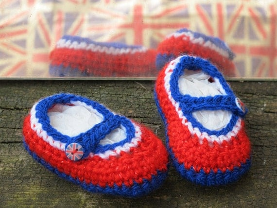 Crocheted Mary-Jane Jubaloos - shoes made to mark the Queen's Diamond Jubilee