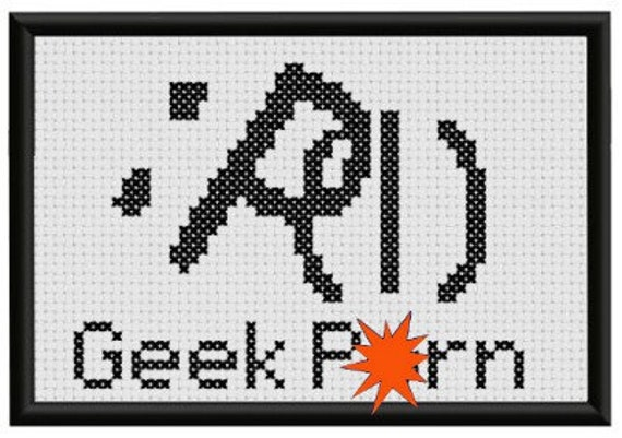 Pattern Funny Cross Stitch Geek P%rn ASCII Erotic Emoticon Rude Humorous ...