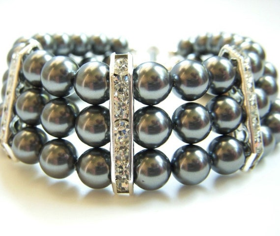 black pearl cuff bracelet triple strand rhinestones swarovski bride bridesmaid wedding jewelry