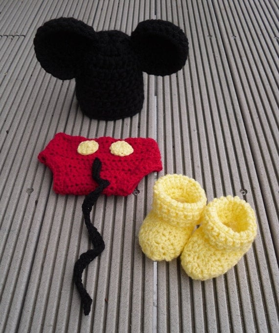 Mickey Mouse baby hat and diaper cover set complete with mickey boots
