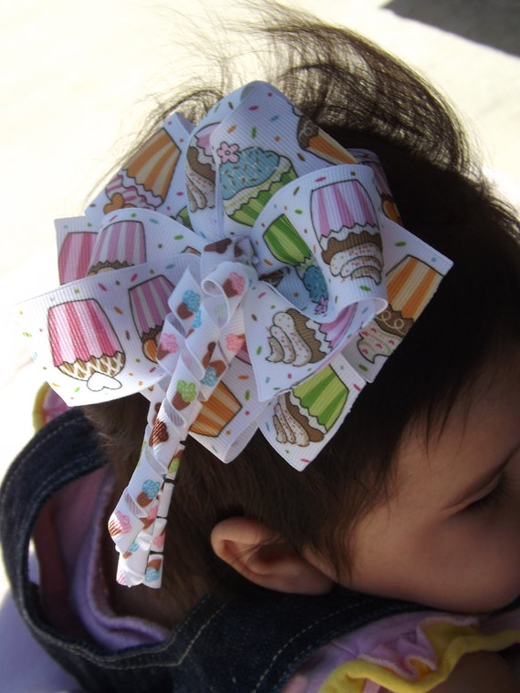 Cupcake Triple Stack Boutique Hair Bow with Korker Cupcake accents