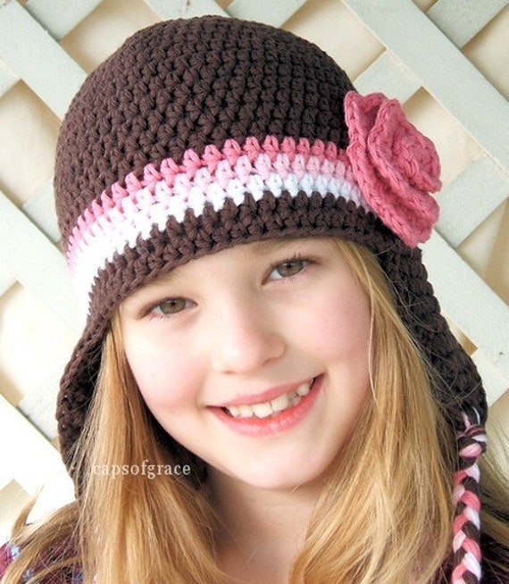 Crochet Hat Pattern Girl Crochet Hat Earflap Beanie with Rose PDF 220 Newborn to Preteen Photography Prop Permission to Sell Hat