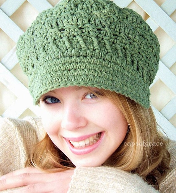 Crochet Hat Pattern Womens Newsgirl Newsboy Slouchy Hat PDF 160 12 Month to Adult Photo Prop Permission to Sell Hat