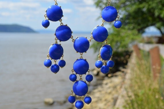 FREE NECKLACE SALE- Bubble Bib Necklace - Statement Necklace- Bib Bubble Necklace- Royal Blue