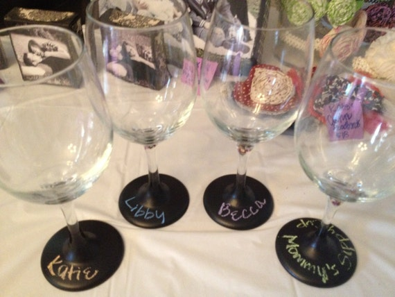 Set of 4 Chalkboard Bottom Wine Glasses